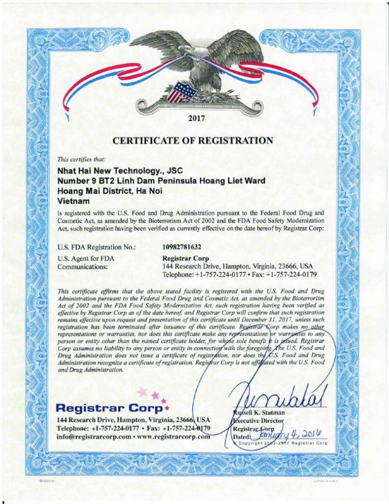 Giấy chứng nhận đăng ký ở Mỹ